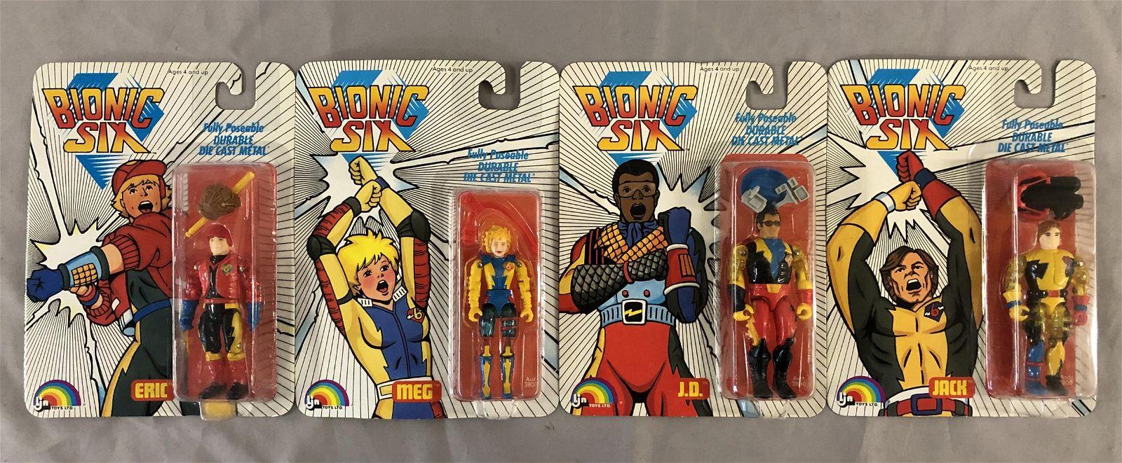 (4) Vtg 1986 Bionic Six MOC Action Figures, LJN