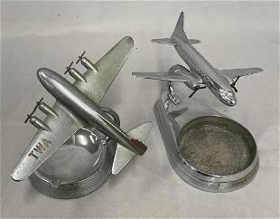 2 Metal Airplane Desk Models