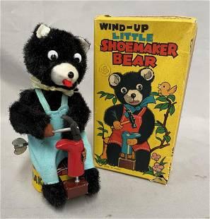 Wind Up Tin Litho Shoemaker Bear.