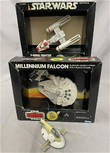 3 Star Wars Die Cast Ships, 2 Boxed