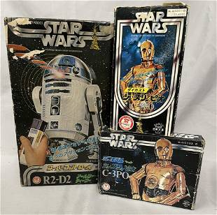 3 Boxed Takara Star Wars Toys, RD-D2, C-3PO