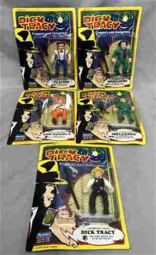1990, (5) MOC Dick Tracy Action Figures, Playmates