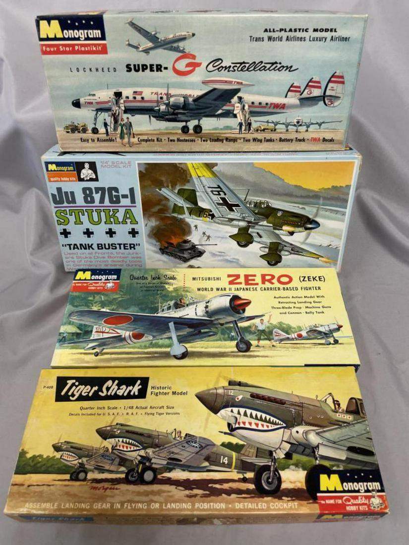 4 Boxed Vintage Monogram Airplane Model Kits