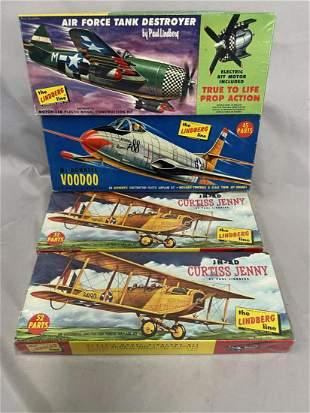 4 Boxed Vintage Lindberg Airplane Model Kits
