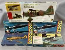 5 Boxed Vintage HAWK Airplane Model Kits