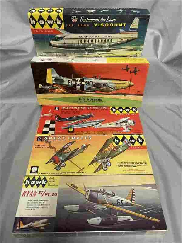 5 Vintage HAWK Airplane Model Kits