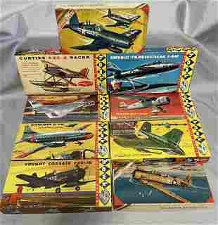 9 Vintage HAWK Airplane Model Kits
