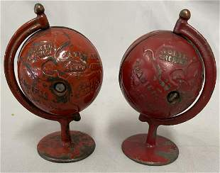 2 Grey Iron Globe Still Banks