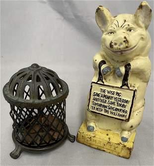 2 Vintage Cast Iron Still Banks