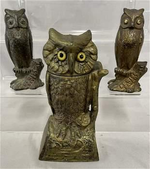 3 Vintage Cast Iron Owl Banks