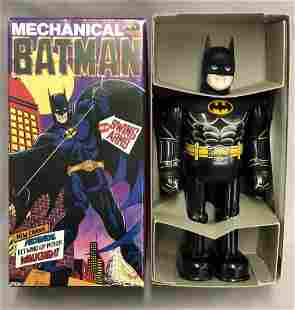 Boxed Tin Litho Mechanical Batman Billiken