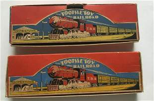 Tootsie Toy Railroad Sets Boxed.