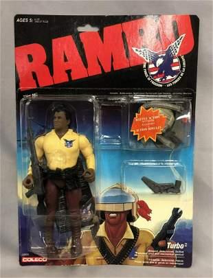 "1986 MOC Rambo ""Turbo"" Figure, French Card"
