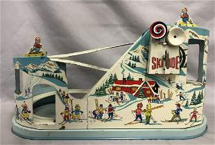Tin Litho Windup J. Chein Ski Ride Roller Coaster