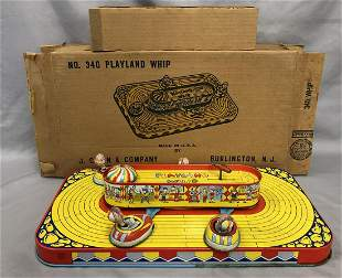 Boxed Tin Litho Windup J. Chein Playland Whip