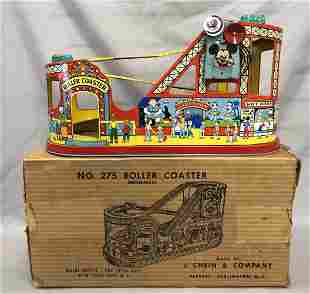 Boxed Tin Litho Windup J. Chein Roller Coaster