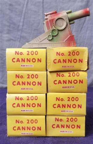 8 MINT Boxed Manoil 200 Dimestore Cannons
