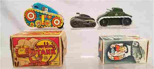 3 Small Toy Tanks, 2 Boxed
