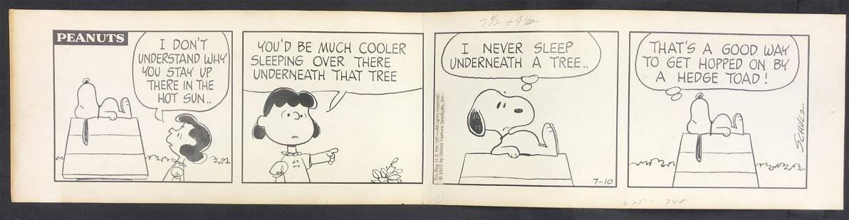 1972 Charles Schulz Peanuts Daily Comic Strip Art