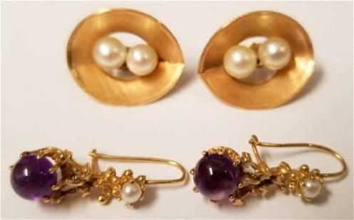 Earrings. Lot of Two Pair.