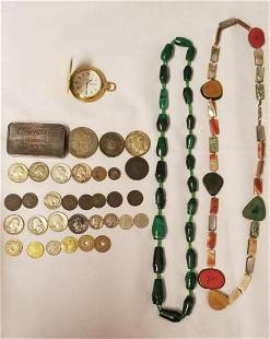 Costume Jewelry and Coin Lot.