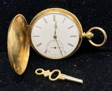 Arnold Nicoud, 18K Gold Key Wind Pocket Watch