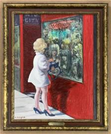 """Clyde Singer, """"Wig City, NYC"""", Oil on Canvas Board"""
