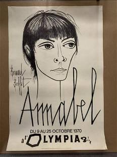 """Bernard Buffet """"Annabel"""" Mourlot Lithograph Poster"""