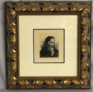 "Raphael Soyer, ""Greek Girl"" Signed Etching"