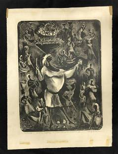 Adolf Dehn Etching, Trial Proof Haitian Tapestry