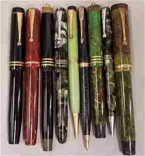Group of Parker Fountain Pens and Pencils.