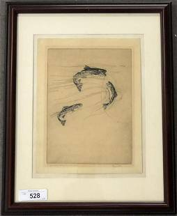 """Hugh Seaver, """"Rainbow Trout"""" Signed Etching"""