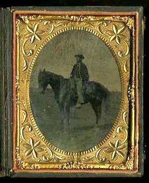 15: OUTDOOR TINTYPE. MOUNTED SOLDIER.