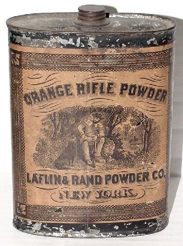 23: ORANGE RIFLE POWDER TIN.