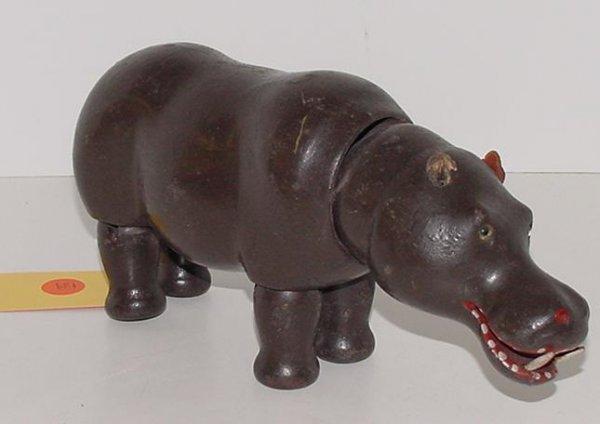 139: SCHOENHUT. GLASS EYED HIPPO.
