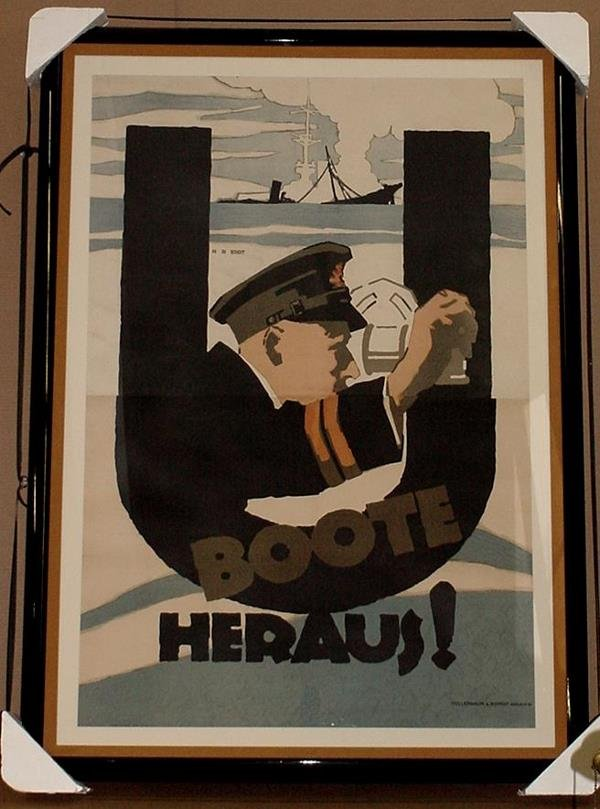 5: ORIGINAL GERMAN WW1 POSTER U BOOTE HERAUS