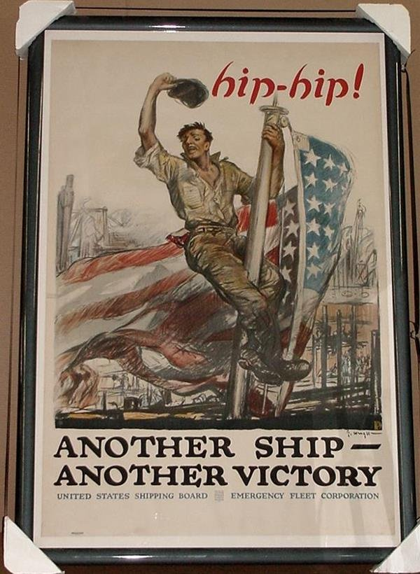 6: ORIGINAL WW1 POSTER HIP HIP ANOTHER SHIP