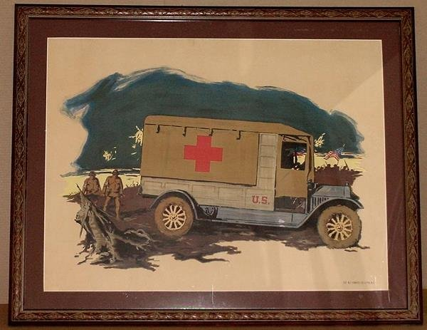 9: ORIGINAL WW1 POSTER RED CROSS TRUCK