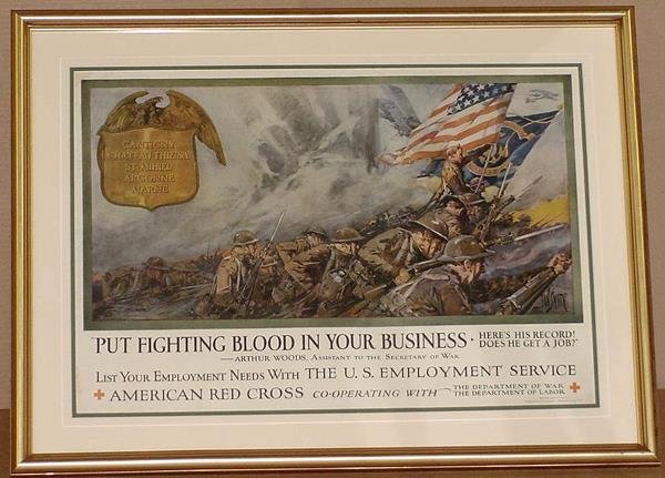 13: ORIG WW1 POSTER PUT FIGHTING BLOOD
