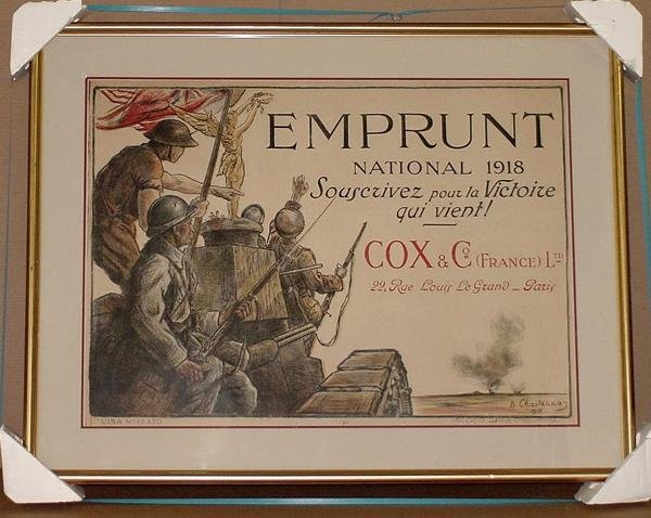 16: ORIG FRENCH WW1 POSTER EMPRUNT NATIONAL 1918