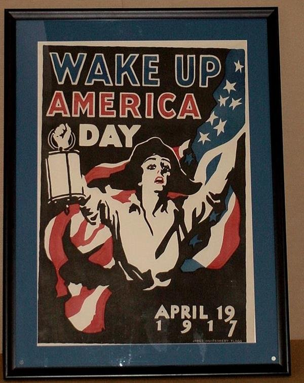 17: ORIG WW1 POSTER WAKE UP AMERICA DAY