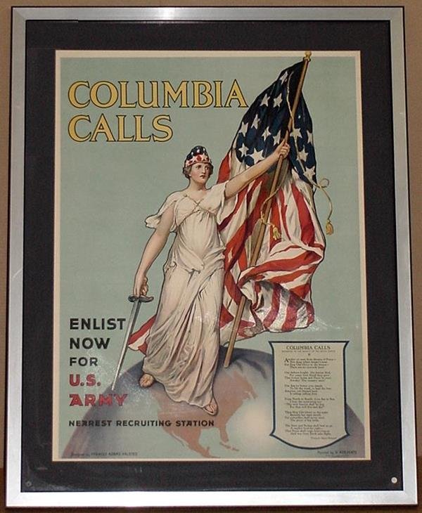 18: ORIG WW1 POSTER COLUMBIA CALLS ENLIST NOW