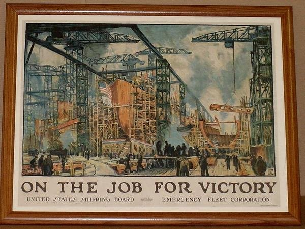 21: ORIG WW1 POSTER ON THE JOB FOR VICTORY