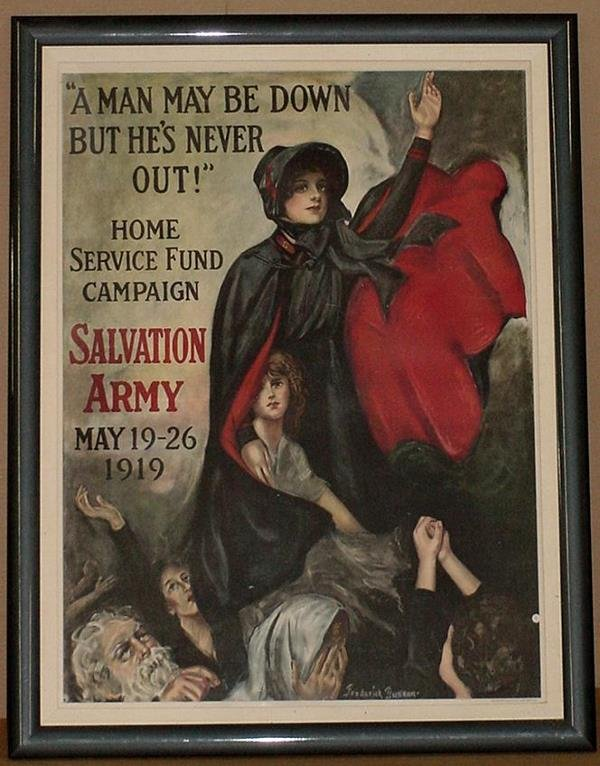 23: ORIG WW1 POSTER MAN MAY BE DOWN NEVER OUT