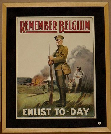 77: ORIG WW1 POSTER REMEMBER BELGIUM ENLIST