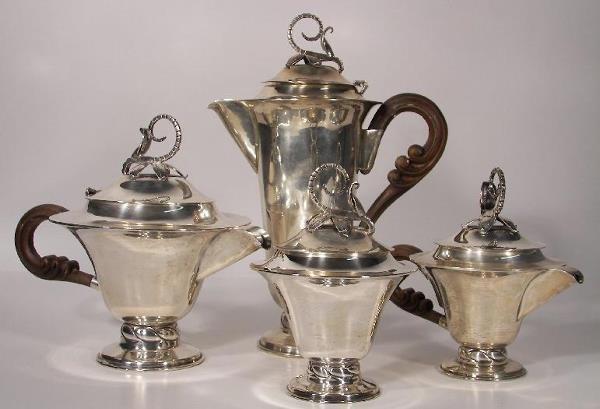 1190: STERLING SILVER 4 PIECE TEA SET
