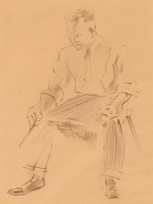 1202: FRANZ KLINE PENCIL DRAWING OF ARTIST