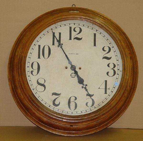 1270: OAK CASE NEW HAVEN THIRTY DAY WALL CLOCK