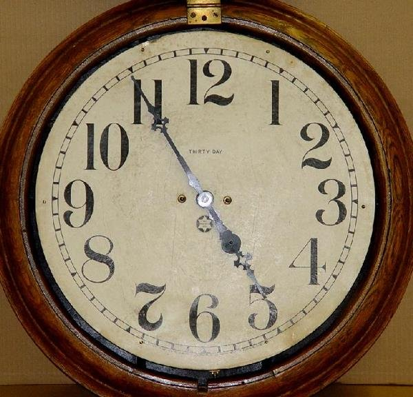 1270: OAK CASE NEW HAVEN THIRTY DAY WALL CLOCK - 4