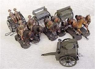Lot Of Elastolin Horse Drawn Wagons